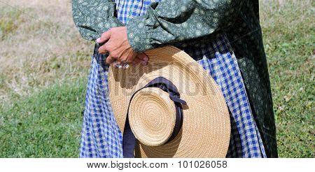Reenactor pioneer woman.
