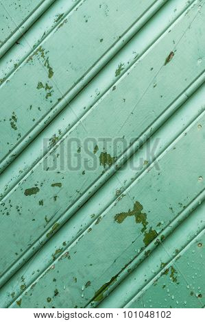 Old Green Wooden Wall With Peeling Paint And Drops Of Water, Diagonal Pattern