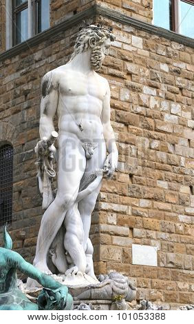 White Statue Of Neptune In Florence Italy