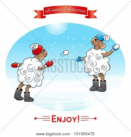 Winter activities. Lambs play in snowballs. Winter poster. Poster, card with sheeps on a winter snow background. Merry Christmas and Happy New Year. poster