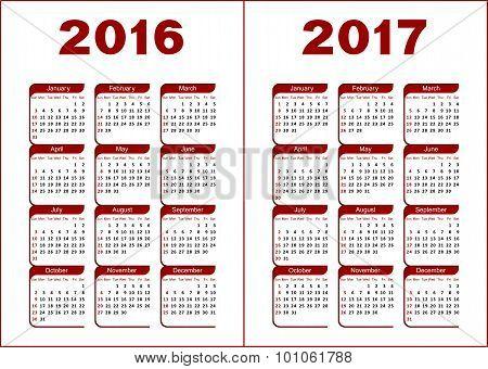 Calendar 2016, 2017