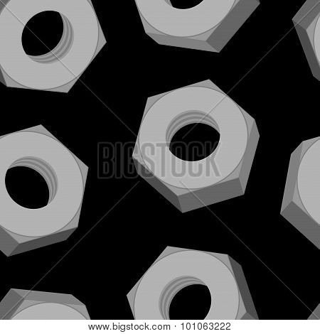 Iron Nuts On A Black Background Seamless Pattern. Vector Background Of Metall Fasteners.