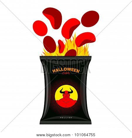 Hellish Chips For Halloween. Packing Snacks With Satan. Hellfire In Black Tutus. Red Chips Are Elimi