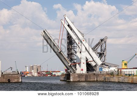 Automatic Movable Bridge At The Harbor Of Antwerp
