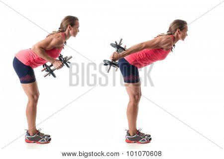 Triceps kickback exercise. Studio shot over white.