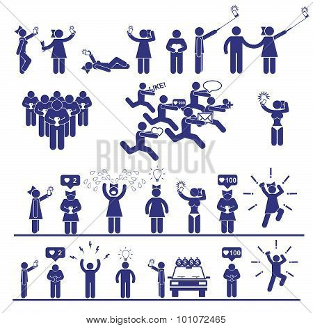 Selfie Vector Stick Figures Set. Social Media Icons And Symbols