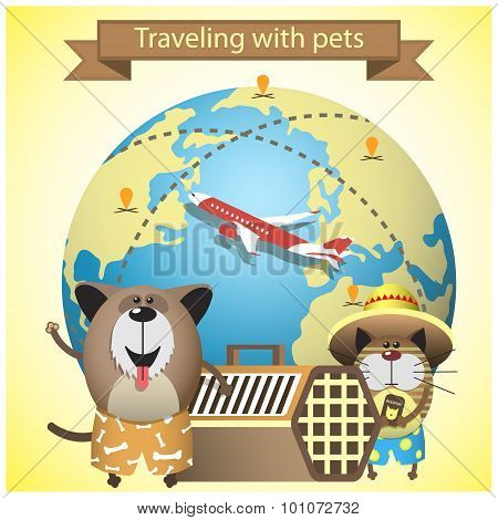 Traveling with pets on airlines concept. Vector illustration with pets kennel and earth globe poster