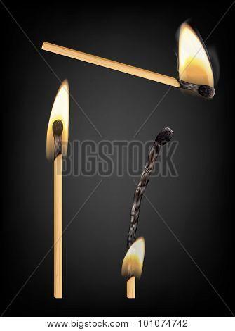 Burning And Burnt Match Sticks On Black Background. Vector Illustration
