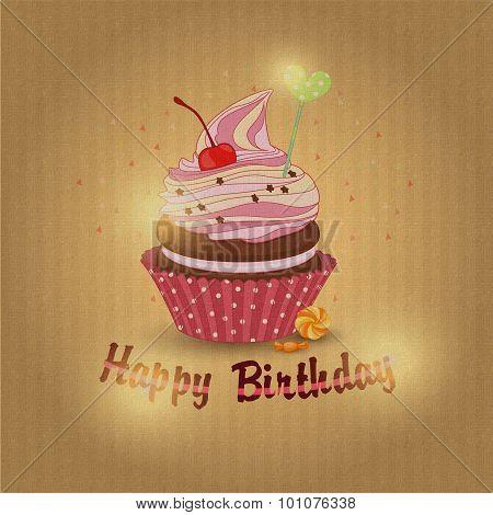 Vector illustration of cupcake birthday