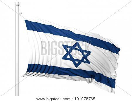 Waving flag of Israel on flagpole, isolated on white background.