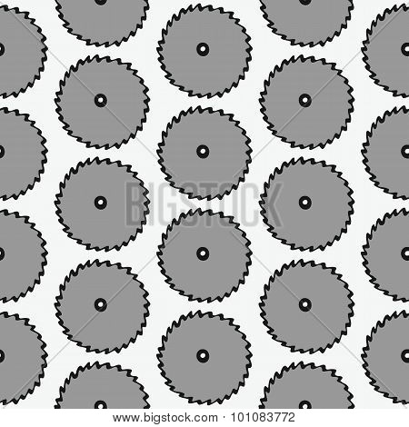 Disk of circular saw - wood and tools. Hand-drawn seamless cartoon pattern with cold saws. Vector il