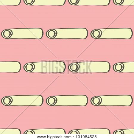 Ziti. Seamless pattern with doodle kind of pasta. Hand-drawn background. Vector illustration.