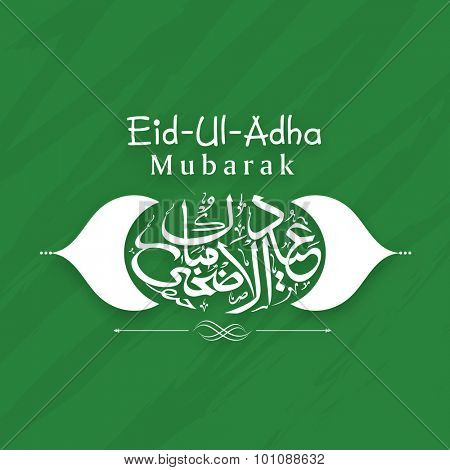 Creative arabic calligraphy text Eid-Ul-Adha Mubarak on green background for muslim community festival of sacrifice celebration.