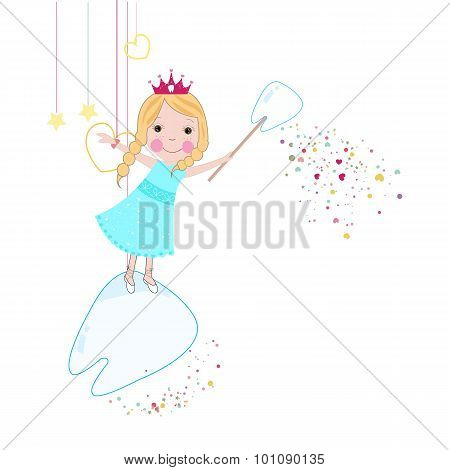 Toothfairy with hearts and stars vector background