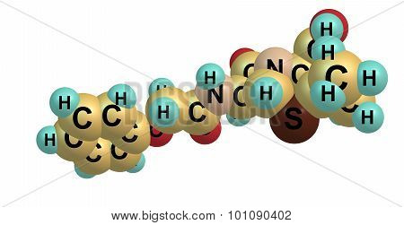 Penicillin V molecular structure isolated on white