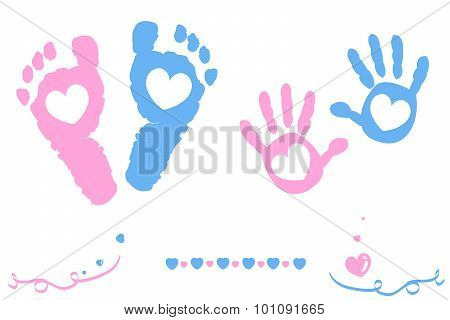 Twin baby girl and boy feet and hand print arrival card