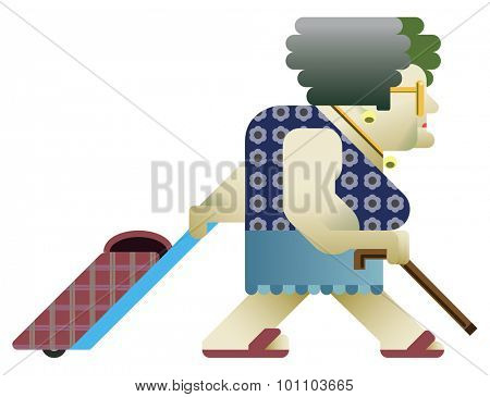 Flat style drawing of an old woman walking from left to right carrying her shopping bag. She holds a stick and she wears summer clothes.