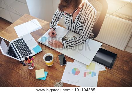 Young Businesswoman Hard At Work At Her Desk