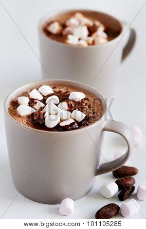 Cup of hot chocolate cocoa drink with marshmallows, milky choc dessert beverage