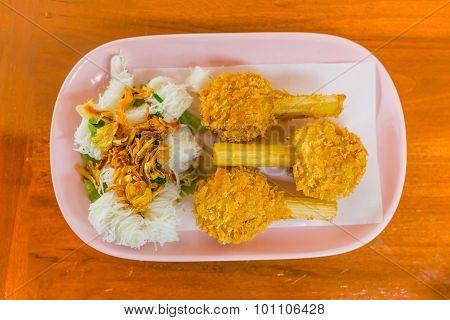 Sugar Cane Skewered Fried Minced Shrimps Or Chao Tom - Vietnamese Food