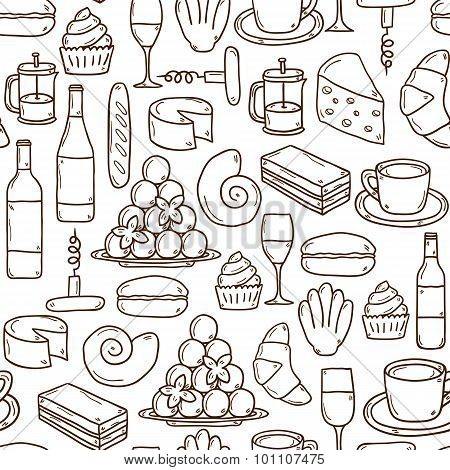 Seamless background with cartoon cute hand drawn objects on french cuisine theme: cheese, wine, maca