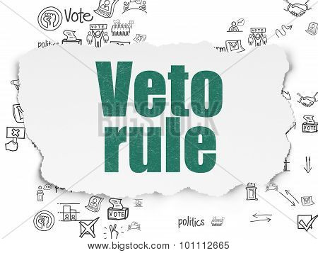 Political concept: Veto Rule on Torn Paper background