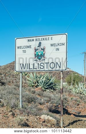 Welcome Signboard At The Entrance To Williston