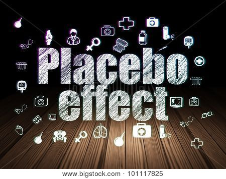 Healthcare concept: Placebo Effect in grunge dark room