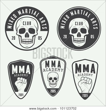 Set Of Vintage Mixed Martial Arts Logo, Badges And Emblems.