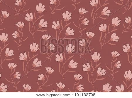 Seamless pattern autumn flowers colored in modern marsala pantone