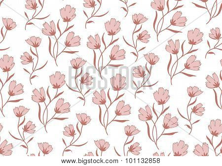 Seamless pattern autumn flowers colored in modern marsala pantone on white