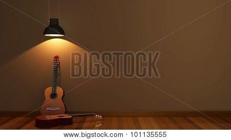 interior design with acoustic guitar