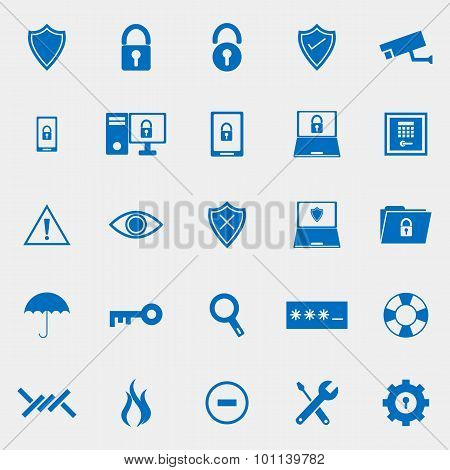 Security Color Icons On Grey Background