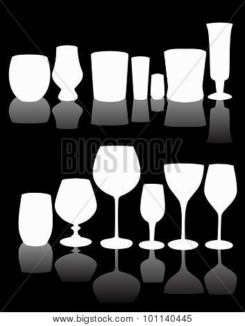 illustration with thirteen glass silhouettes isolated on black background