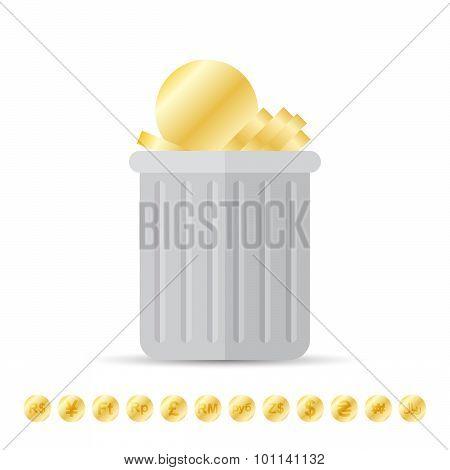 Coins On Trash