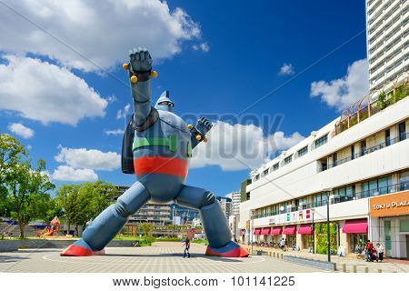 KOBE, JAPAN - AUGUST 22, 2015: The Gigantor robot monument at Shin-nagata Station. The character is from the manga Testsujin 28-go written by the late Mitsuteru Yokoyama who was born in Kobe.