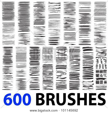 Vector very large collection or set of 600 artistic black paint hand made creative brush strokes isolated on white background