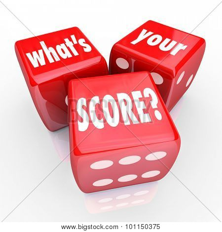 What's Your Score words on three red dice to ask you of your credit rating, grade, level or other measurement