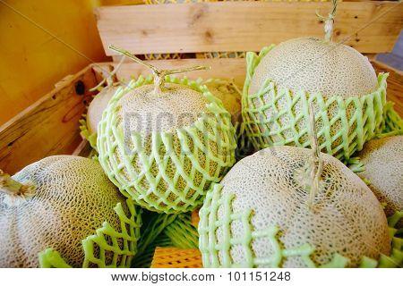Box Of Cantalope Melons At The Farmers Market
