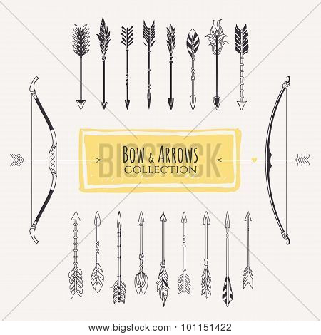Decorative bows and arrows collection. Hand drawn vector design elements.