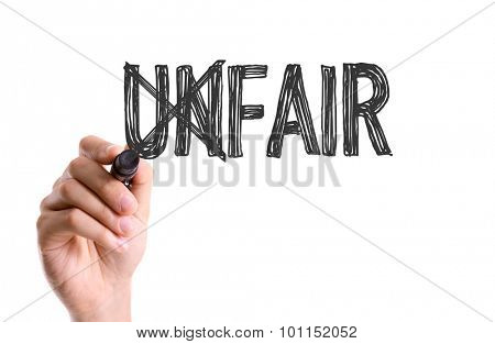 Hand with marker writing the word Unfair