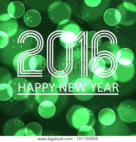 Happy New Year 2016 On Green Bokeh Circle Background Eps10