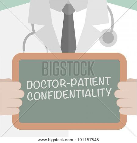 illustration of a doctor holding a blackboard with Doctor Patient Confidentiality text, eps10 vector