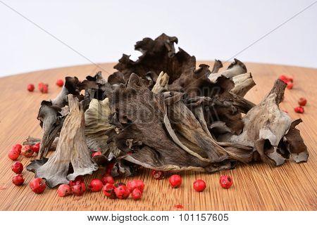 Pile Of Dried Horn Of Plenty Mushrooms