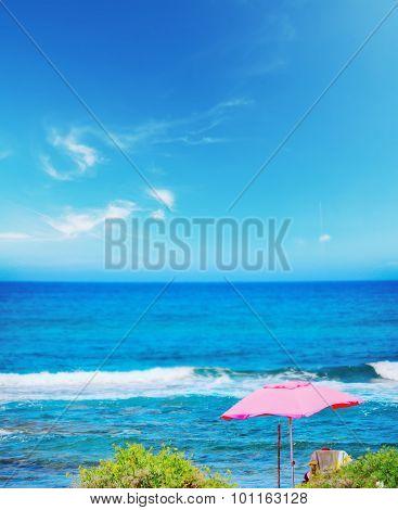 Pink Parasol In Porto Ferro Beach