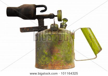 Old Kerosene Blowtorch Isolated On White Background