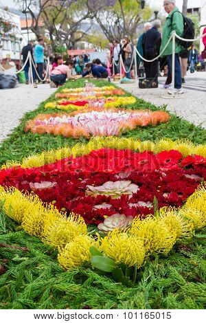 Flower carpets along the central promenade of Avenida Arriaga in Funchal, Madeira, Portugal