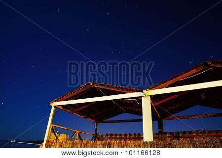 Wooden Cabin On A Starry Night By The Sea In Alghero