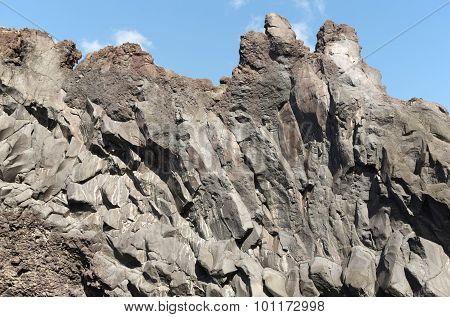 Azores Basalt Formation In Sao Jorge. Faja Do Ouvidor. Portugal