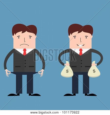 Poor and rich businessmen
